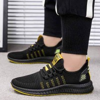 Mesh Pattern Canvas Rubber Sole Sneakers - Yellow