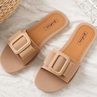 Buckle Patched Flat Sole Summer Casual Sandals - Apricot