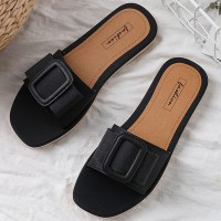 Buckle Patched Flat Sole Summer Casual Sandals - Black