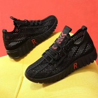 Hollow Mesh Laced Up Sports Wear Sneakers - Black