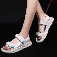 Rubber Sole Velcro Closure Strappy Sports Wear Sandals - White