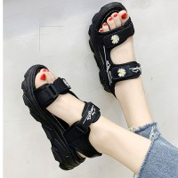 Thread Art Velcro Closure Women Casual Sandals - Black