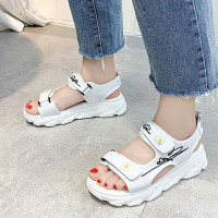 Thread Art Velcro Closure Women Casual Sandals - White