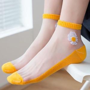 10 Pairs Mesh Flower Style Socks For Women - Multi Color