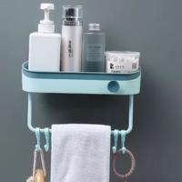 Shelf Contrast Plastic Hooks Storage Bathroom Rack - Blue