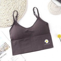 Spaghetti Strap Padded Slim Wear Bra - Gray