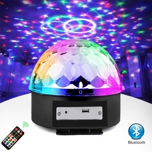 Remote Control USB and Bluetooth Support Magic Lighting Ball - Black