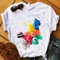 Colorful Nail Polish Round Neck Summer T-Shirt - White