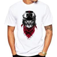 Creative Cat Graphical Prints Round Neck Men T-Shirt - White