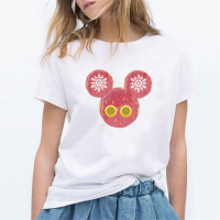 Mickey Prints Decorative Round Neck Summer T-Shirt - White