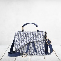Alphabetic Prints Magnetic Closure Shoulder Bags - Blue