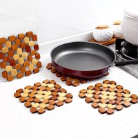 3 Pcs Square Shape Bamboo Design Heat Resistant Table Mat - Brown