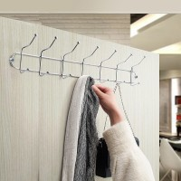 7 Hooks Stainless Steel Clothes Wall Hanger - Silver