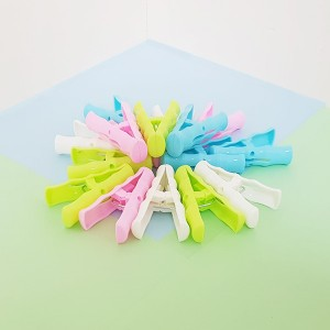 16 Pcs High Quality Clothes Drying Hanging Clips - Multi Color