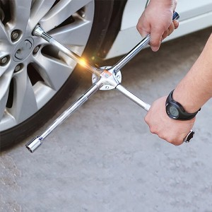 Heavy Duty 4 Way Car Wheel Screws Wrench Brace Spanner - Silver