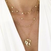 Ladies Fashion Pendant Necklace - Golden