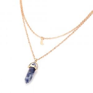 Woman Bullet Pendant Necklace - Dark Blue