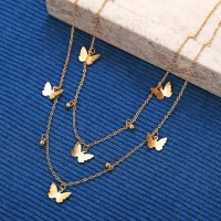 Ladies Butterfly Alloy Necklace - Golden