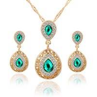 Woman Water Drop Necklace And Earrings Set - Green