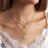 Ladies Heart Crescent Multilayer Necklace - Golden