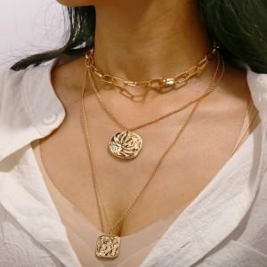 Ladies Multilayer Vintage Gold Plated Necklace - Golden