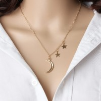 Woman Moon Star Combination Necklace - Golden