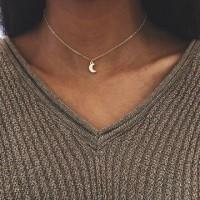Ladies Moon Pendant Short Necklace - Golden