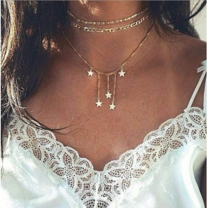 Woman Star Fashion Necklace - Golden
