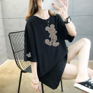 Printed Mickey Round Neck Loose Women T-Shirt - Black