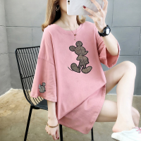 Printed Mickey Round Neck Loose Women T-Shirt - Pink