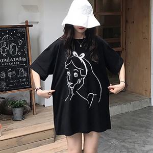 Princess Cartoon Prints Round Neck Loose T-Shirt - Black
