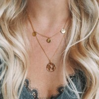 Women Popular Disc Necklace - Golden