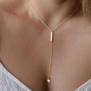 Geometric Triangle Tassel Women Necklace - Golden