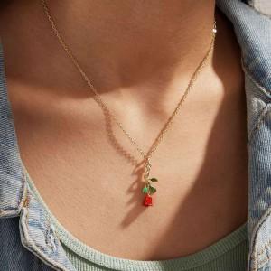 Ladies Rose Pendant Necklace - Golden