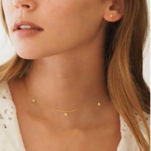 Woman Three Stars Pendant Necklace - Golden