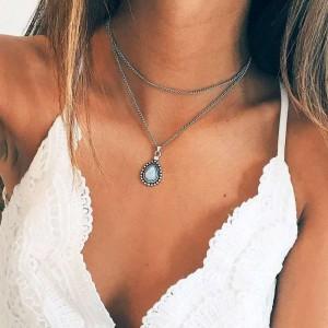 Woman Vintage Drop Pendant Necklace - Silver