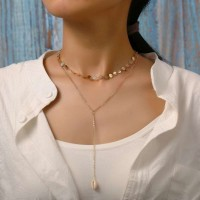 Double Layer Shell Pendant Necklace - Golden