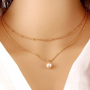 Woman Artificial Pearl Necklace - Golden