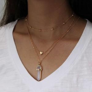 Woman Gemstone Heart  Multilayer Necklace - Golden