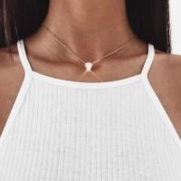 Ladies Zircon Heart Necklace - Golden