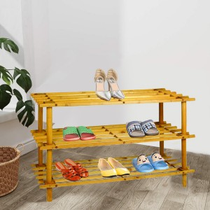Natural Wooden 3 Layer Shoe Rack - Brown
