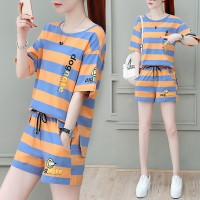 Striped Print Round Neck Two Piece Summer Wear Suit - Orange