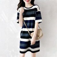 Round Neck Striped Casual Wear Mini T-Shirt Dress - Multicolor