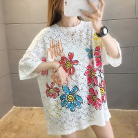 Floral Printed Colorful Hollow Pattern Summer T-Shirt - Multicolor
