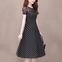 Polka Prints Round Neck A-Line Mini Dress - Black
