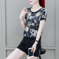 Graphical Prints Round Neck Short Sleeved Top With Bottom Shorts - Black
