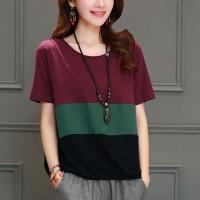 Round Neck Short Sleeves Summer Wear T-Shirt - Burgundy