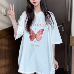 Butterfly Prints Round Neck Half Sleeves Women T-Shirt - White
