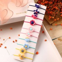 10 Pieces Of Simple Children Flower Hair Rope Band - Multicolor