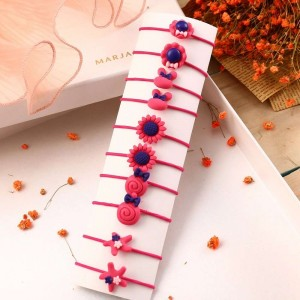 10 Pieces Of Simple Children Flower Hair Rope - Red